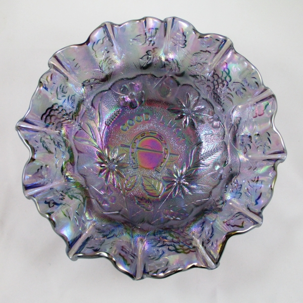 Fenton Lavender Purple Good Luck Carnival Glass Bowl