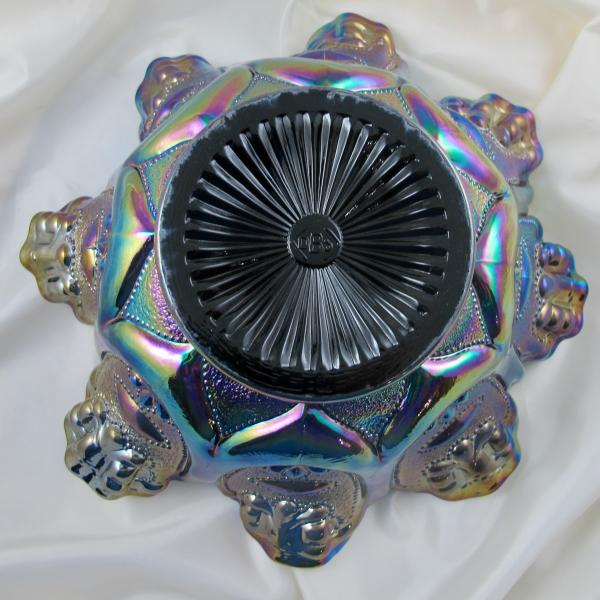 Fenton Farmyard Black Amethyst Carnival Glass Deep Bowl - D. Singleton Bailey