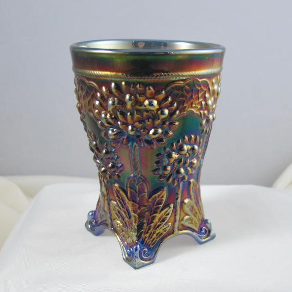 Antique Fenton Orange Tree Blue Carnival Glass Tumbler