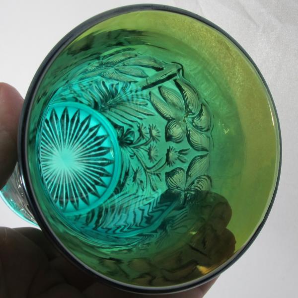 Antique Imperial Tiger Lily Teal Aqua Carnival Glass Tumbler