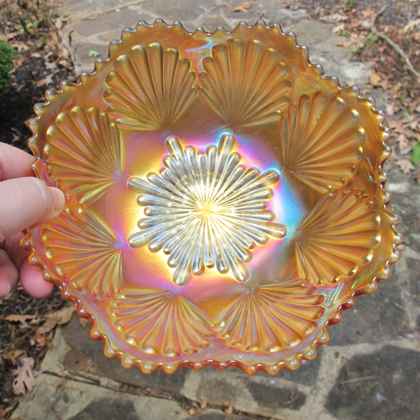 Antique Imperial Shell Marigold Carnival Glass ICS Deep Bowl
