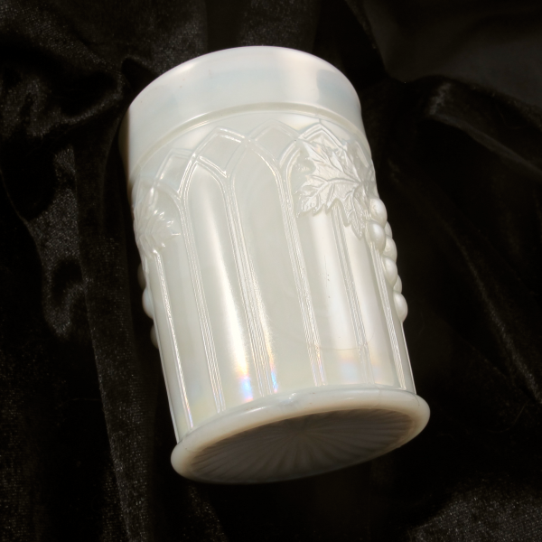 Antique Northwood Grape & Gothic Arches Pearlized Custard Carnival Glass Tumbler