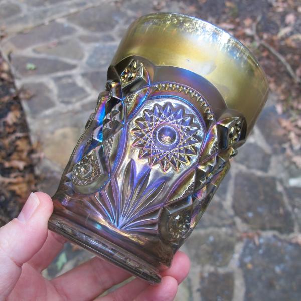 Antique Imperial Fashion Smoke Carnival Glass Tumbler