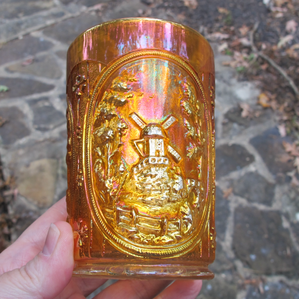 Antique Imperial Windmill Marigold Carnival Glass Tumbler