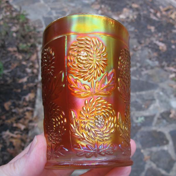 Antique Fenton Pumpkin Marigold Ten Mums Carnival Glass Tumbler