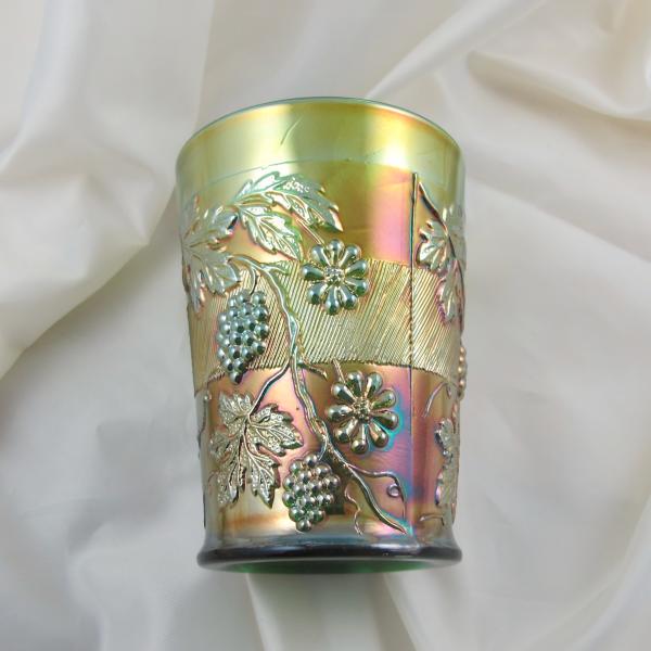 Antique Fenton Floral & Grape Green Carnival Glass Tumbler
