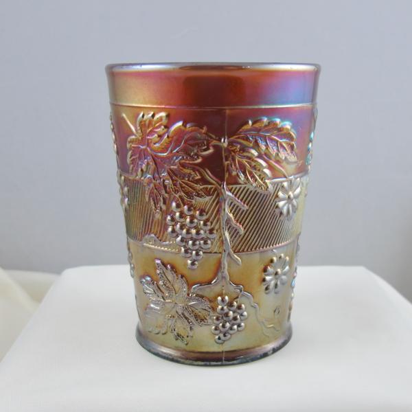 Antique Dugan Floral & Grape Amethyst Carnival Glass Tumbler