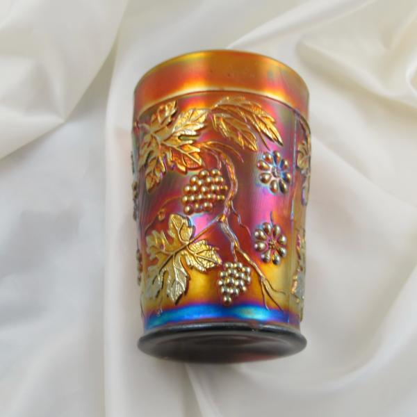 Antique Fenton Floral & Grape Amethyst Carnival Glass Tumbler