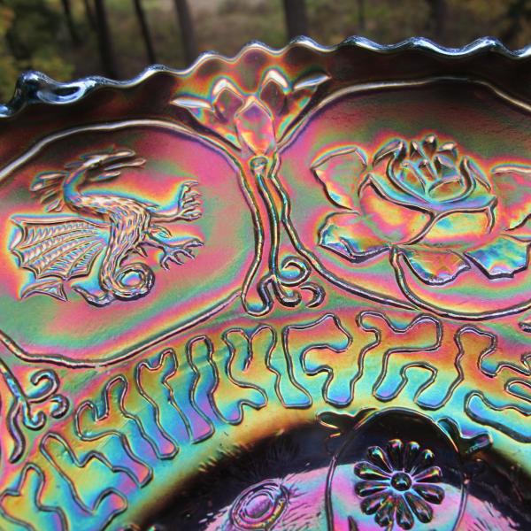 Antique Fenton Green Dragon & Lotus Carnival Glass Ruffled Bowl