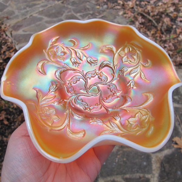 Antique Dugan Bells & Beads Peach Opal Carnival Glass Bowl