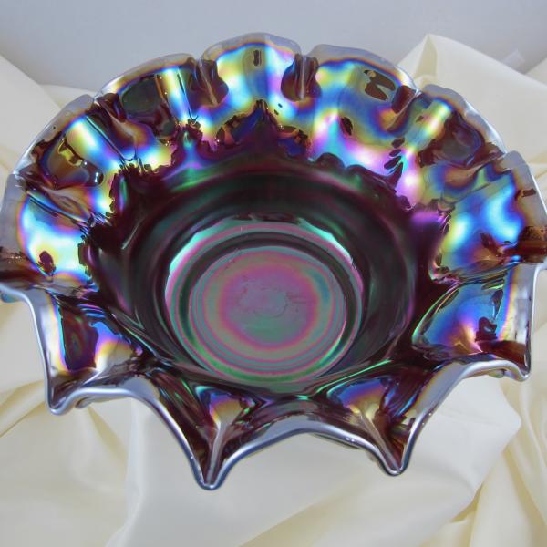 Fenton Grape & Cable Red Slag Carnival Glass Large Bowl