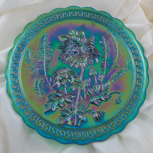 Summit – Imperial Emerald Green Chrysanthemum Carnival Glass Plate