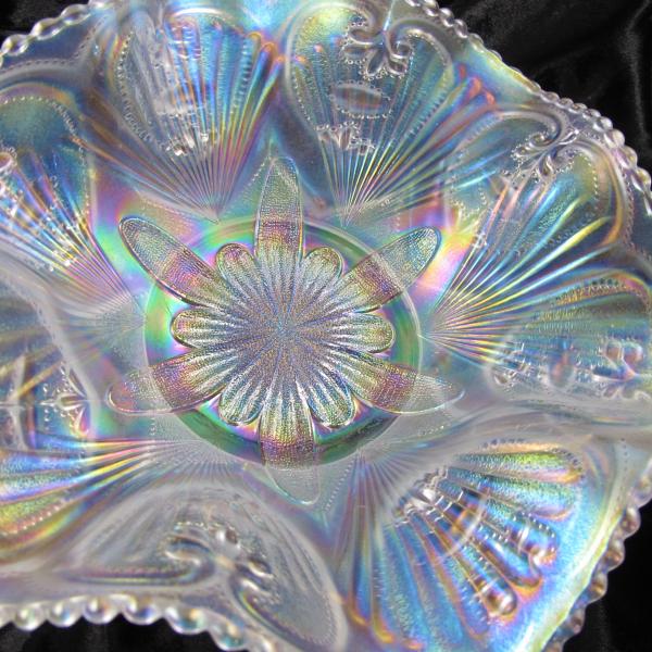 Antique Dugan Petal & Fan White Carnival Glass Large Bowl