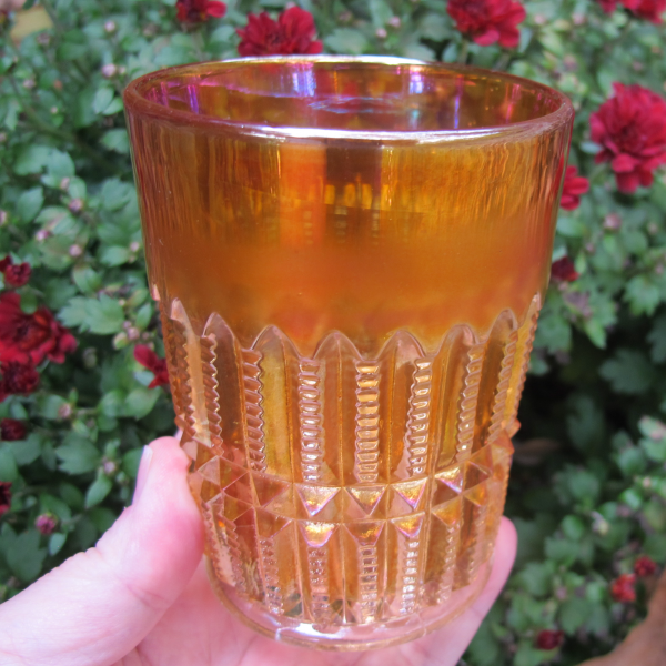 Antique Imperial File Marigold Carnival Glass Tumbler