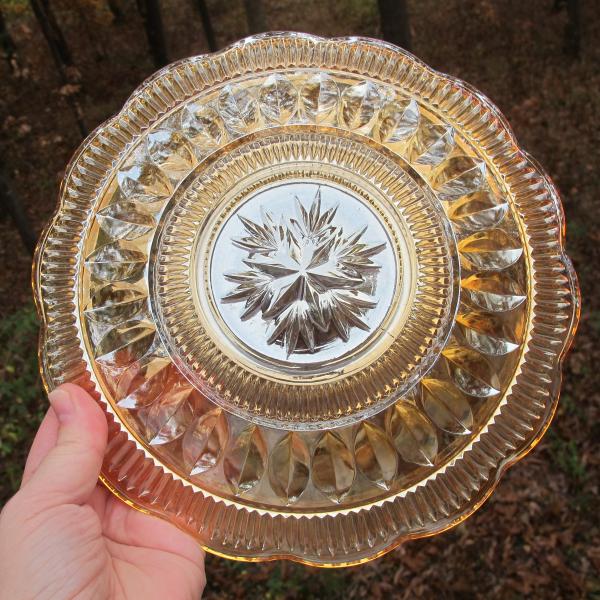 Antique Brockwitz Triands Niobe Marigold Carnival Glass Plate