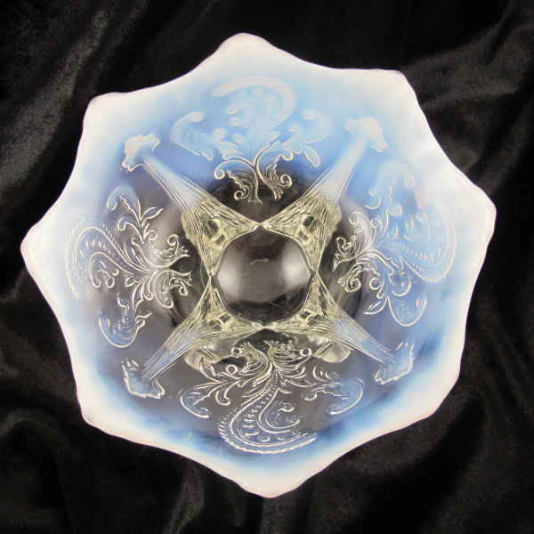 Antique Dugan White Opal Inverted Fan and Feather Opalescent Glass Flared Bowl or Card Tray