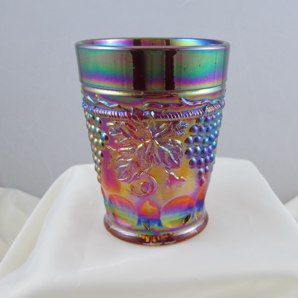 St. Clair Red Grape & Cable Carnival Glass Tumbler