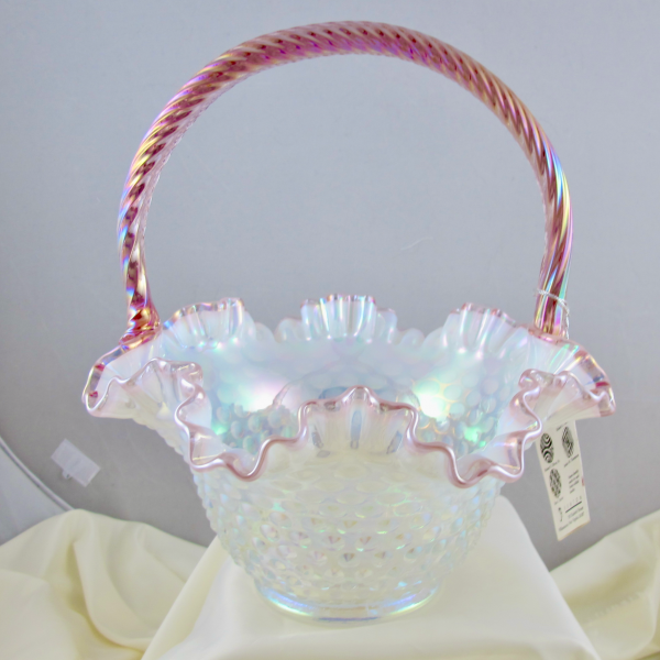 Fenton Pink Crested Hobnail Opalescent French Opal Carnival Glass Ruffled Basket