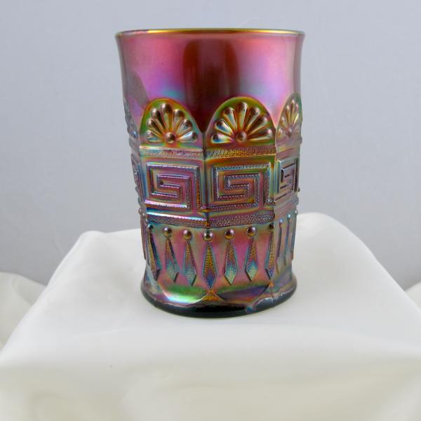 Antique Northwood Greek Key Green Carnival Glass Tumbler