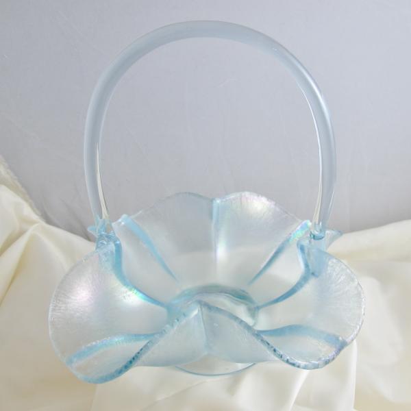 Fenton Ice Blue Velva Blue Melon Rib Stretch Carnival Glass Art Basket