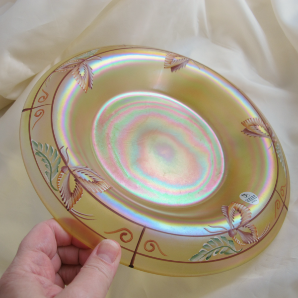 Fenton Autumn Gold Millennium Collection Carnival Glass Rolled Rim Bowl Butterflies - Ltd Edn
