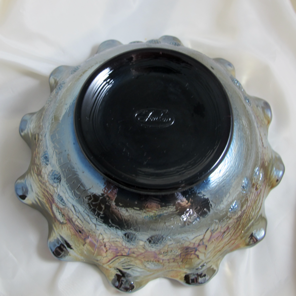 Fenton Persian Medallion Black Amethyst Carnival Glass Bowl