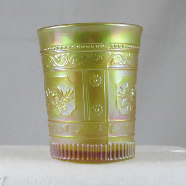 Terry Crider Pastel Marigold Willow Oak EAPG Carnival Glass Tumbler Whimsy