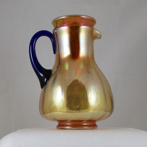 Antique Fenton Marigold & Cobalt Blue #200 Carnival Glass Guest Set