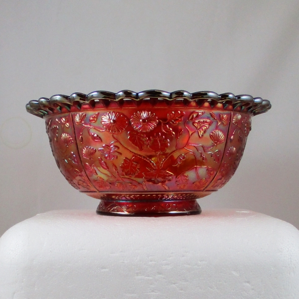 Imperial RED Carnival Glass Black-eyed Susan Round Bowl