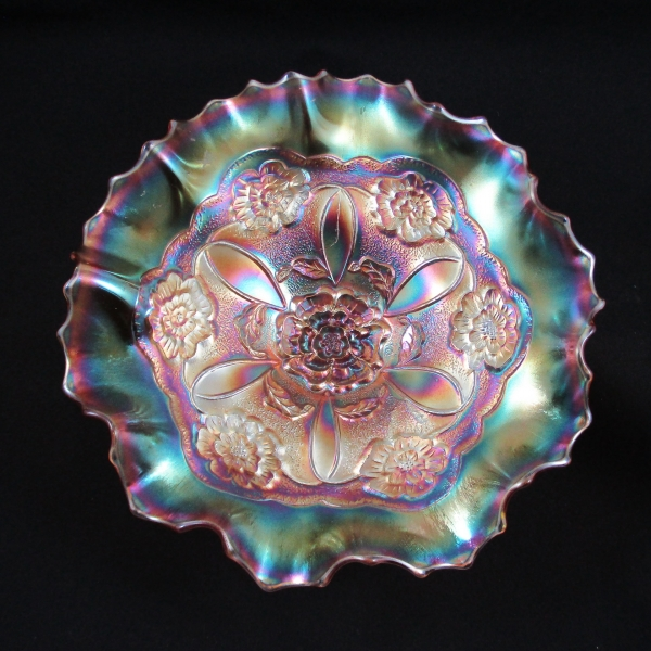 Antique Dugan Marigold Double Stem Rose Carnival Glass 10 Ruffle Bowl