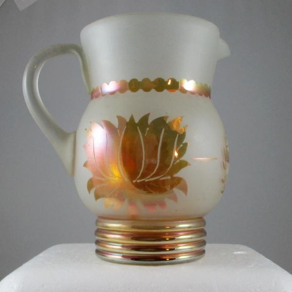 "Antique Indian ""Golden Lotus"" Pattel Marigold Carnival Glass Water Pitcher"