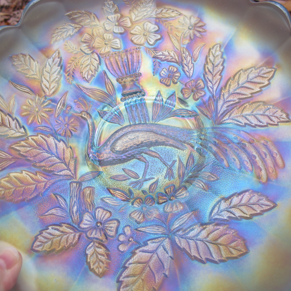 Antique Northwood Peacock and Urn Ice Blue Carnival Glass Master Berry Bowl