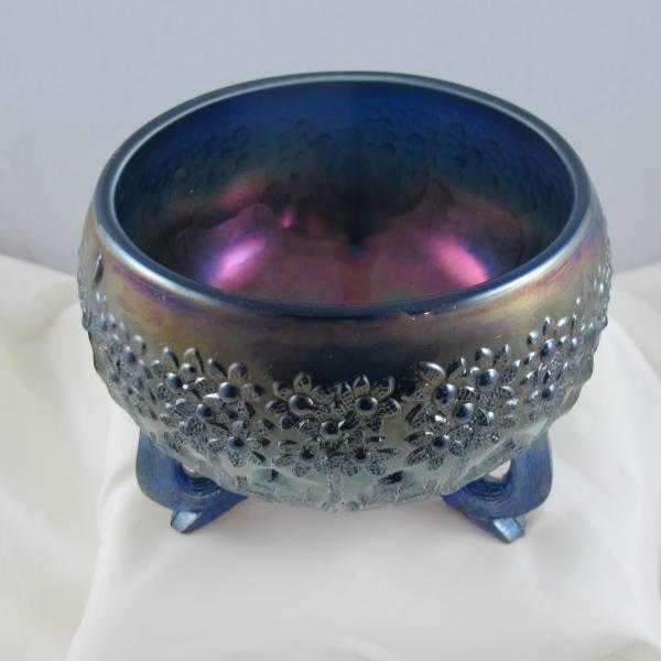 Antique Fenton Fenton's Flowers Blue Carnival Glass Rose Bowl – Smooth Edge!