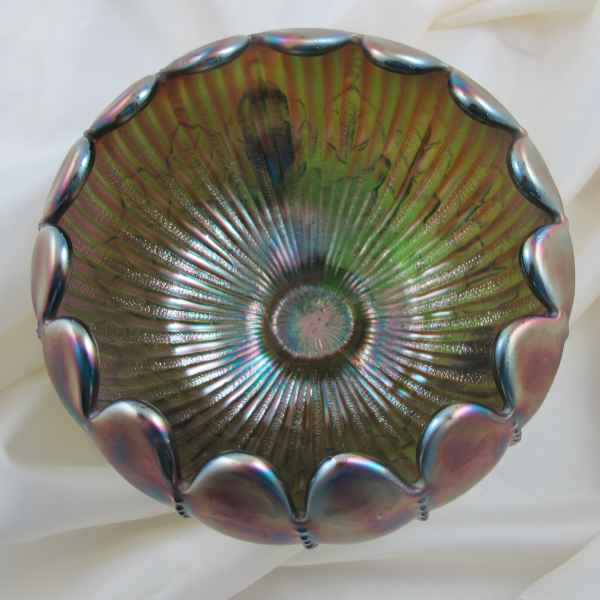 Antique Northwood Leaf & Beads Green Carnival Glass Rose Bowl Stippled Rays Int.