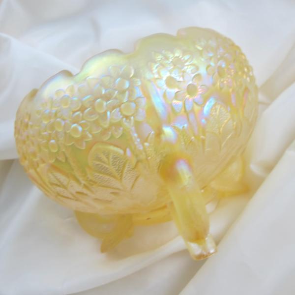 Fenton Fenton's Flowers Yellow Camphor Satin Carnival Glass Rose Bowl