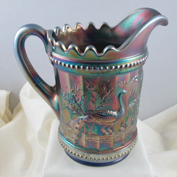 Antique Dugan Blue Peacock At The Fountain Carnival Glass Water Pitcher