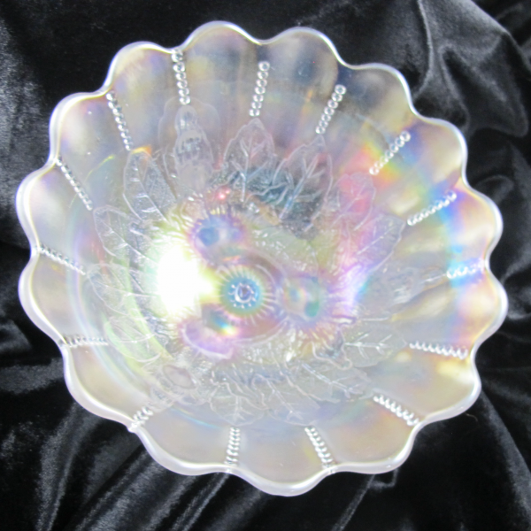 Antique Northwood Leaf & Beads White Carnival Glass Flared Nut Bowl