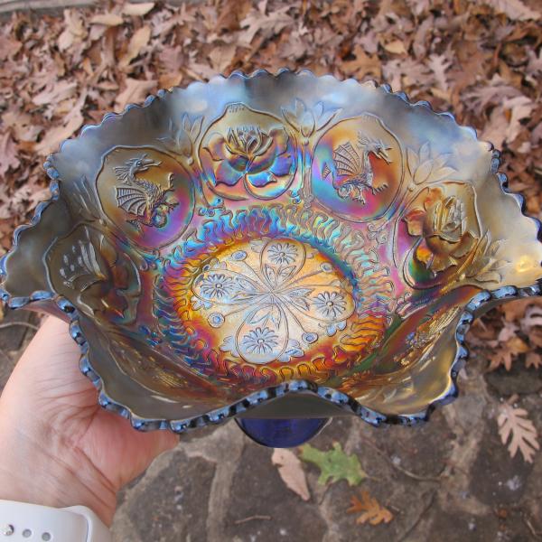 Antique Fenton Dragon & Lotus Blue Carnival Glass Spat Footed Bowl