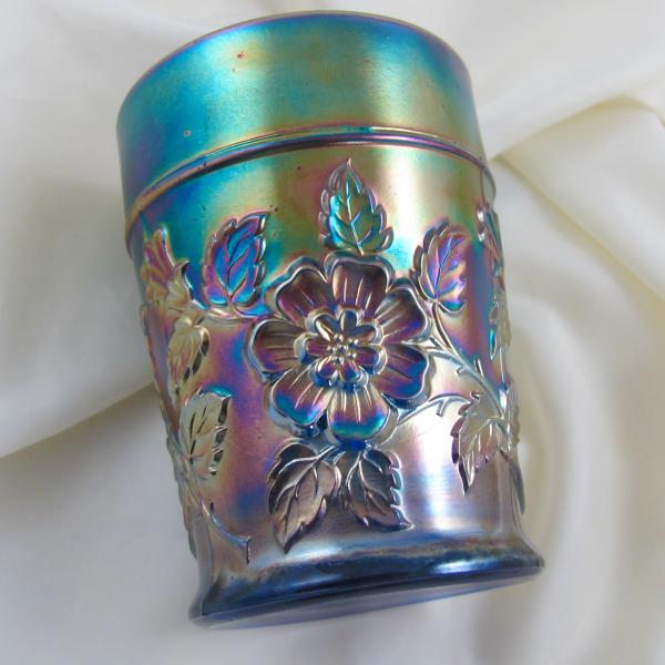 Antique Dugan Rambler Rose Blue Carnival Glass Tumbler