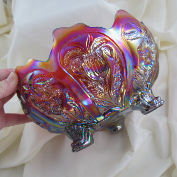 Imperial Sunset Ruby Iris Carnival Glass Master Bowl