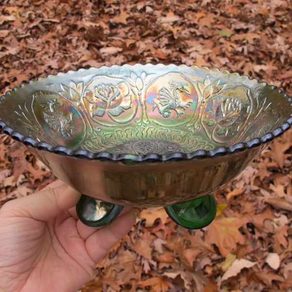Antique Fenton Dragon & Lotus Green Carnival Glass Flared Nut Bowl - Spat Ftd.