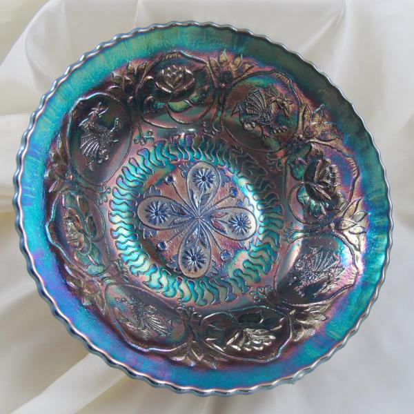 Antique Fenton Dragon & Lotus Electric Blue Carnival Glass Flared Nut Bowl - Spat Ftd.
