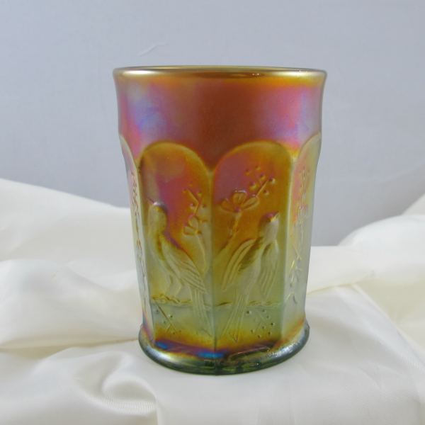 Antique Northwood Singing Birds Lime Green Marigold Overlay Carnival Glass Tumbler