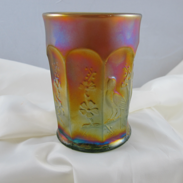 Antique Northwood Singing Birds Lime Green Marigold Overlay Carnival Glass Tumbler