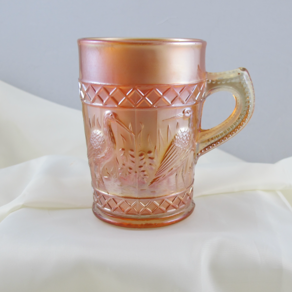 Antique Dugan Stork & Rushes Lattice Band Marigold Carnival Glass Mug