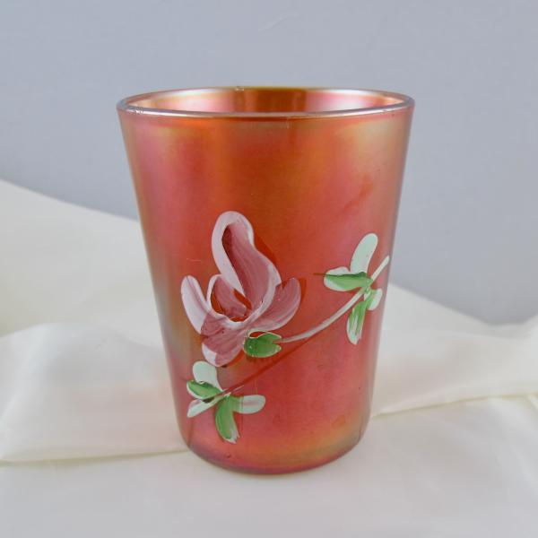 Antique Fenton Enameled Lotus Marigold Carnival Glass Tumbler