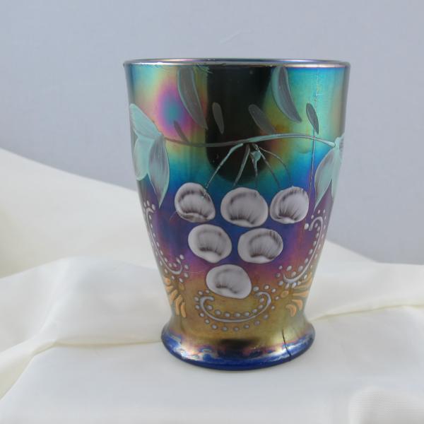 Antique Northwood Enameled Ground Cherries Blue Carnival Glass Tumbler