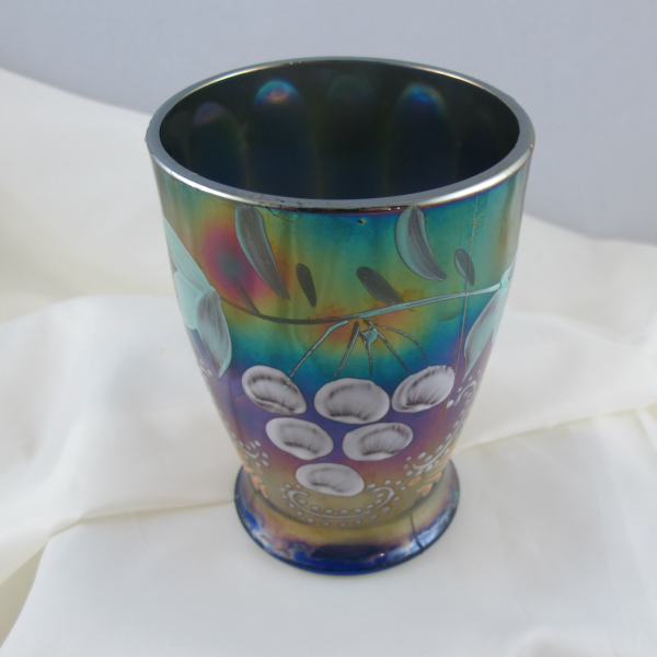 Antique Northwood Enameled Ground Cherries Blue Carnival Glass Tumbler
