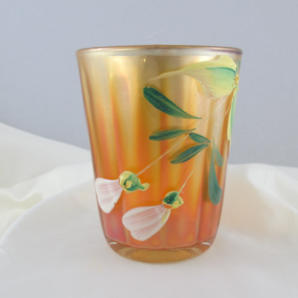 Antique Fenton Enameled Magnolia Marigold Carnival Glass Tumbler