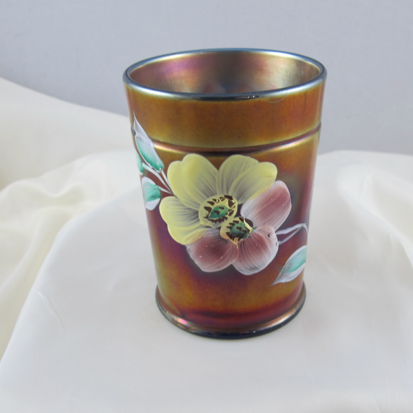Antique Northwood Enameled Apple Blossom Blue Carnival Glass Tumbler
